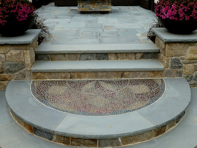 "Distance view of ""Circle of Life"" garden mosaic"