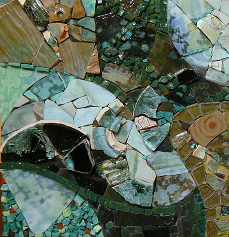 Mosaic Art Ebb and Flow by David Chidgey at Lynne Chinn's Abstract Mosaic Workshop