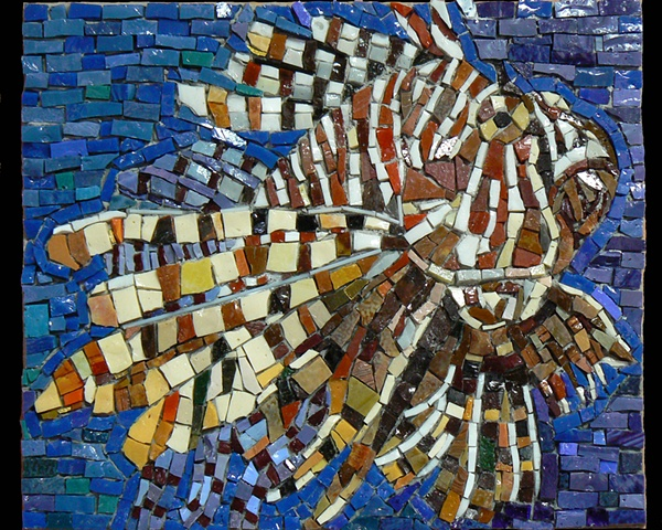 Mosaic Art Lion Fish by David Chidgey Smalti Intensive Workshop Sue Giannotti