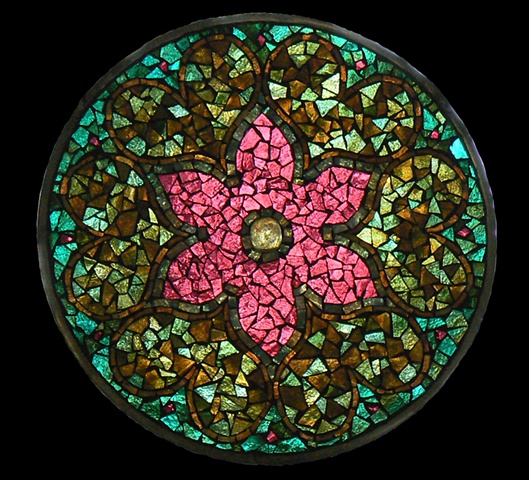 Stained Glass Mosaic Mandala Persian Flower by David Chidgey