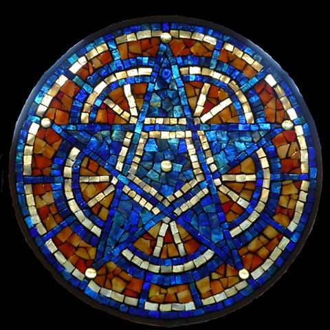 Stained Glass Mosaic Mandala Blue Star by David Chidgey