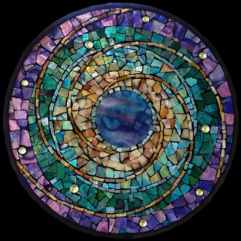 "Mysterious Planet - Sold Stained Glass Mosaic 10"" diameter"