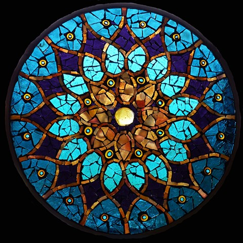 "Peacock Sun - Sold Stained Glass Mosaic 10"" diameter"