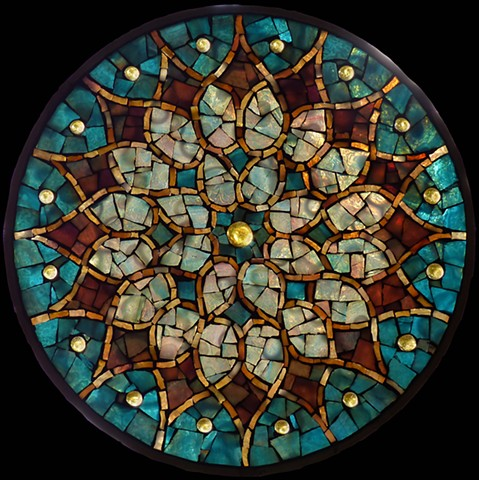 Stained Glass Mosaic Mandala Sunburst by David Chidgey