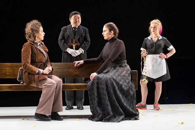 Feste, Malvolio, Olivia, and Maria