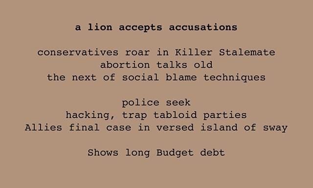 A Lion Accepts Accusations