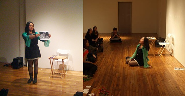 Performing at Bronx Art Space, NY, Itinerant Performance Festival, 2012  Right side photo by Hector Canonge