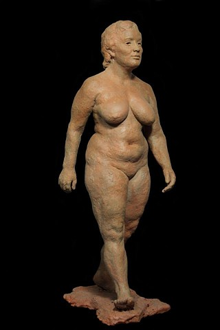 walking woman contemporary figure sculpture