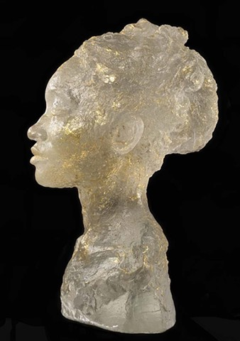 Portrait sculpture cast glass and gold leaf of dancer