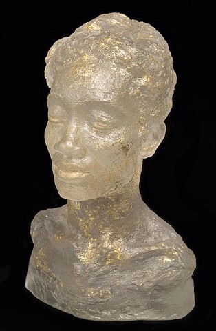 Female portrait Cast Glass figure sculpture artist