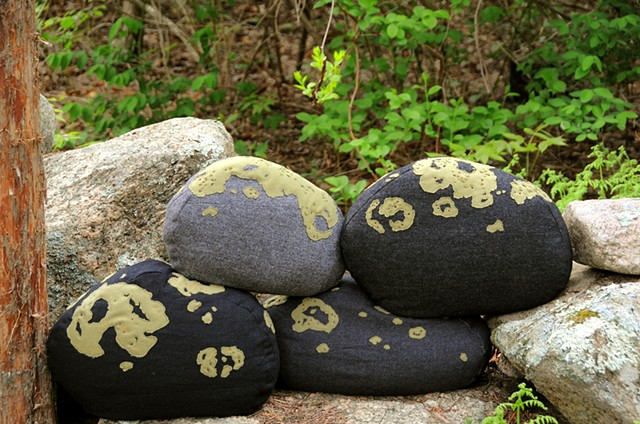 green lichen covered fieldstone pillows wool fiber art nature decor by chelsea clarke