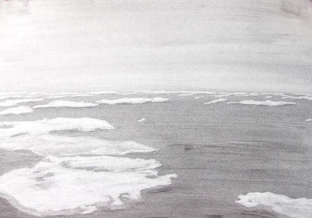 white on gray graphite eraser drawing of ice floes at the arctic circle in the bering sea by Chelsea Clarke