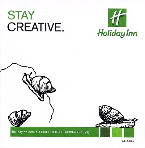 pen and ink drawing of snails on holiday inn promotional post it note by Chelsea Clarke