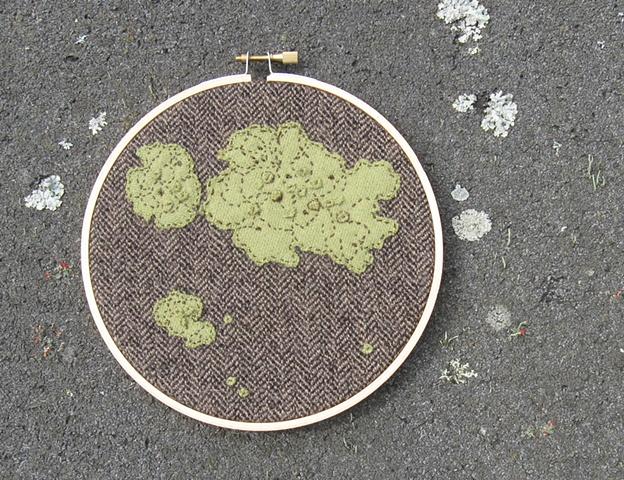 green lichen wool fiber art by chelsea clarke