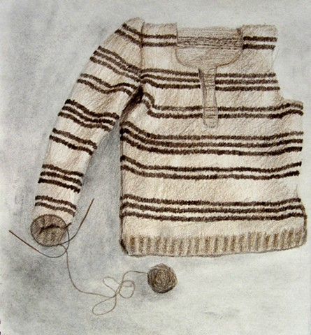 a graphite, charcoal, and colored pencil drawing of a handknit sweater in progress by chelsea clarke
