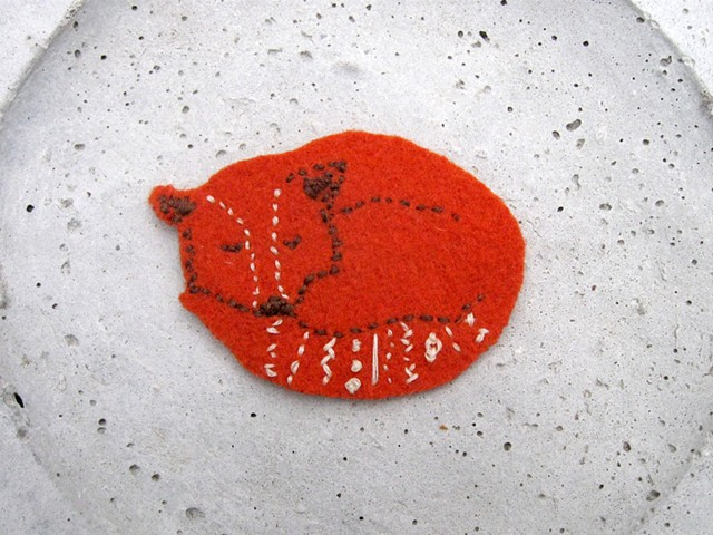 handsewn fox patch orange, white, and brown. Red fox  patch for sewing on a jacket