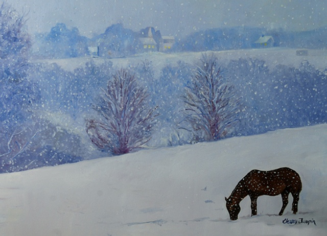 Horse and Snow on Anderson Mill Rd.