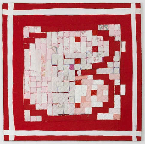 Abstract, colorful, collage, sewn, quilt, fabric on canvas are the artwork of Brooklyn Sculptor, Artist and Feminist Courtney Puckett