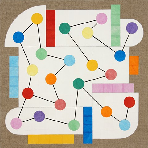 "Richard Kalina, Prospect 7, 2014, 16""x16"", collage, acrylic, flashe on linen"