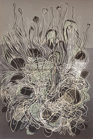 Abby Goldstein, Untitled in gray, pigment and dispersion on paper, 44 x 30 inches