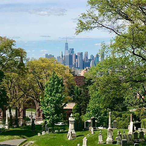 Doug Clouse, New York City seen from Green-Wood Cemetery in Brooklyn; The wealth of the city shaped the styles of lettering in Green-Wood.