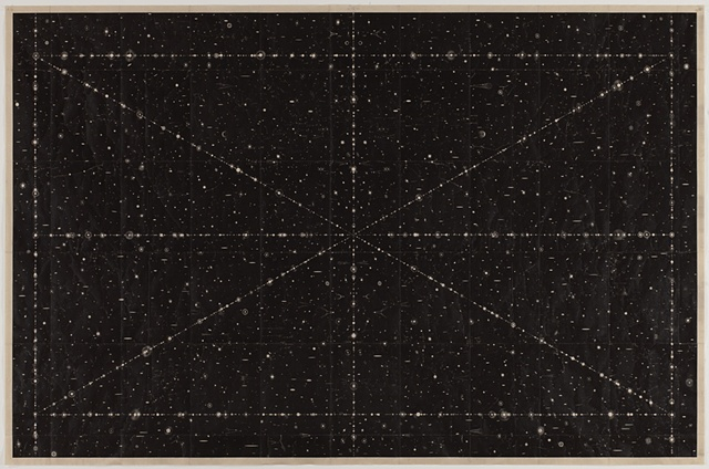 "Marsha Cottrell Hitherto Unknown Lights 2, 2012 Iron oxide on mulberry paper 53 3/4"" x 81 3/8"""