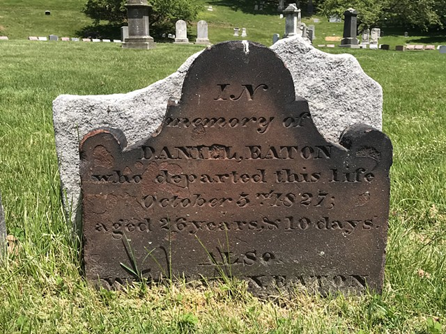 Doug Clouse, The oldest gravestones in Green-Wood, such as this one, pre-date the cemetery and were moved there from other cemeteries