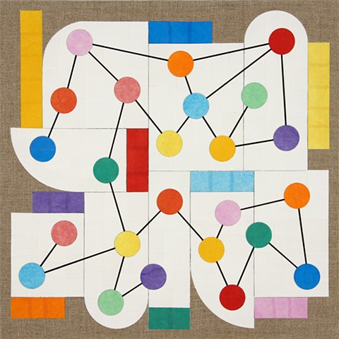"Richard Kalina, Prospect 10, 2014, 16""x16"", collage, acrylic, flashe on linen"