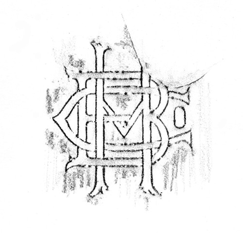 Doug Clouse, A rubbing of part of a bottle found on the shore of Tottenville, Staten Island. This monogram is for the Hadkins Bottling Company, which bottled various soft drinks from 1863 to 1950.