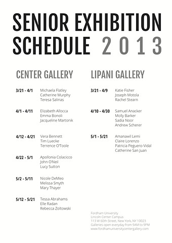 Senior Exhibition Schedule Postcard Back
