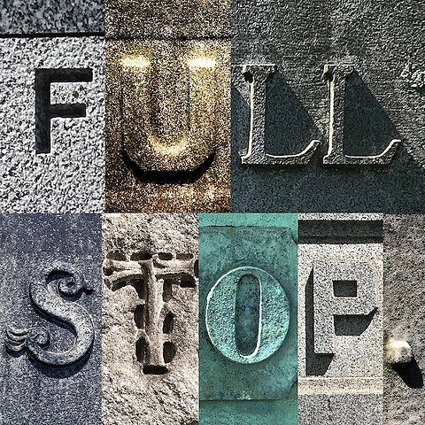 Doug Clouse, Full Stop, the title of a virtual tour of lettering in Green-Wood that I gave with Angela Voulangas in June 2020 04: Lettering, Green-Wood Cemetery