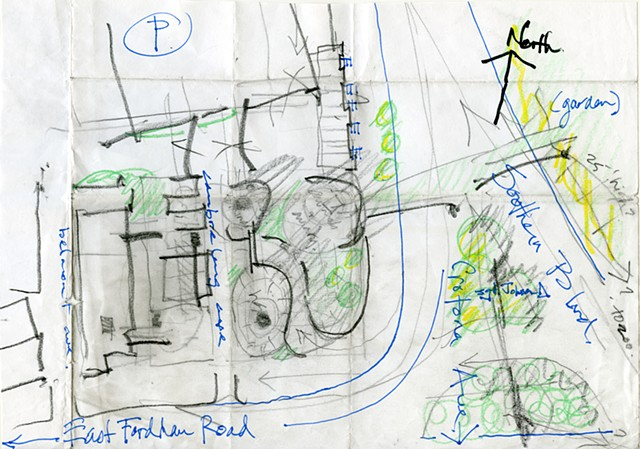 """Desk crit sketch by Prof. Cathcart on Bala Strivistava's St. Francis Vet School project, April 2017.  pencil, marker, pen & highlighter on 11"" x 17"" original, trimmed & folded (detail)."""