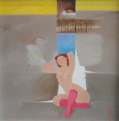 Mulher com meias rosas ( Woman with red socks) by Floriano Teixeira