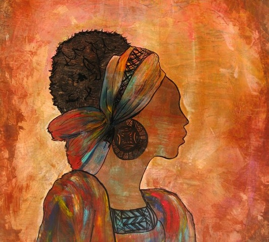 Original acrylic painting on wooden canvas.This painting was created to celebrate the beauty in African women