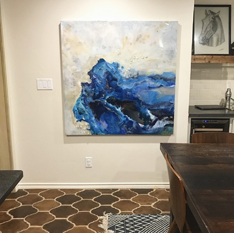 Oncoming Tide is an original fluid art painting by Dallas artist Suzie Collins