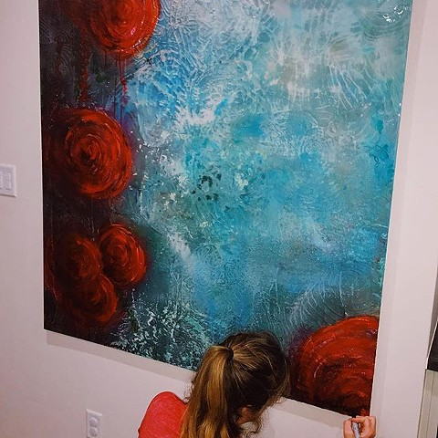 Mixed media, abstract art by Dallas professional artists Suzie Collins