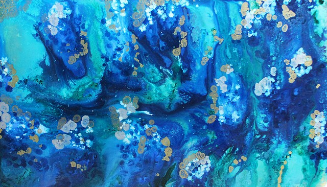 Abstract painting of bluebonnets