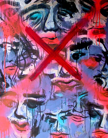 Rage is an original painting created by Suzie Collins during her art residency in France