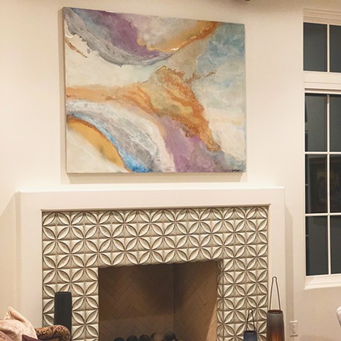 This custom, modern painting was created by Dallas artist Suzie Collins