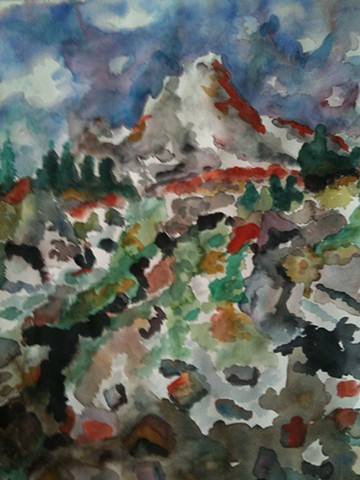 abstract, creative, view of peak above timberline, melded colors, greens, oranges, blues, reds, same view as alomst to the top w/ different colors
