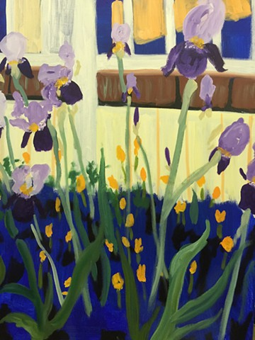 purple iris, greens, oranges, yellows, floral, more abstract version.