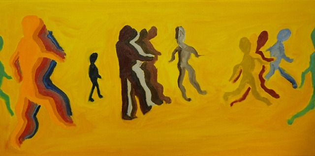 abstract colored figures symbolically depict a march through life the real self and shadow self oil painting by Judith Gilman