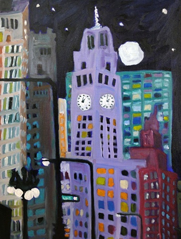 The night sky coats the glowing building as it becomes time to sleep, darj blues, city scape, purple, green, moon, night view