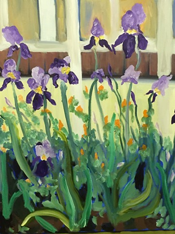 purple iris, greens, oranges, yellows, floral