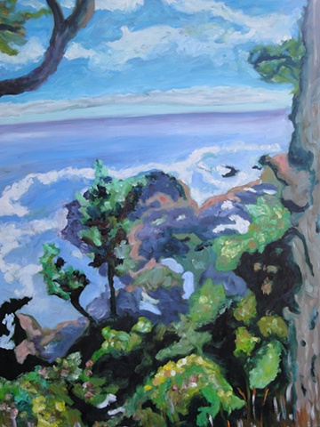 Oil painting by Judith Gilman--An Oregon Coastal view was created by looking down on a beach created by seeping volcanic lava.