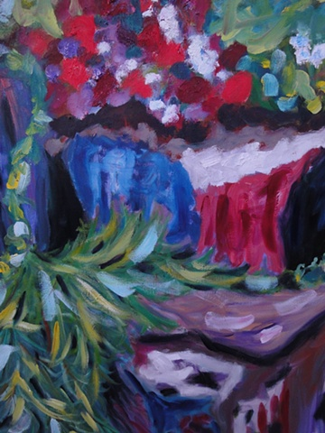 This painting is a colorful interpretation of a bank of large garden rocks.