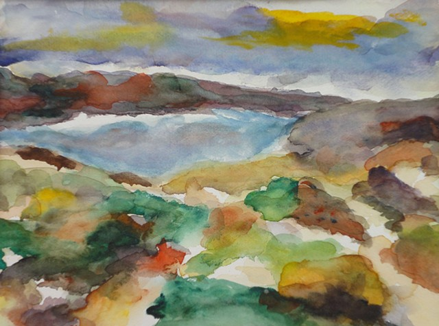 blended colors, greens, yellows, brown, interpretive view, plains, blue mountains, lake, by Judith Gilman