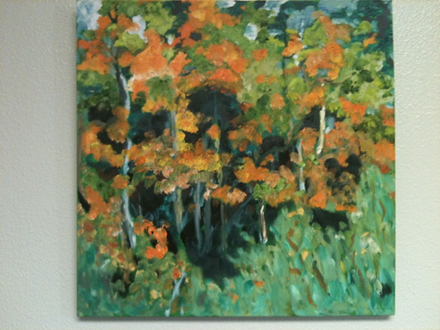 fall colorado aspen trees, gold, yellows, oranges, surround greens leading to the heart of the forest; oil painting by Judith