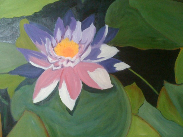 Greens, large lily, purple shade, white, large lily pad leaves, yellow