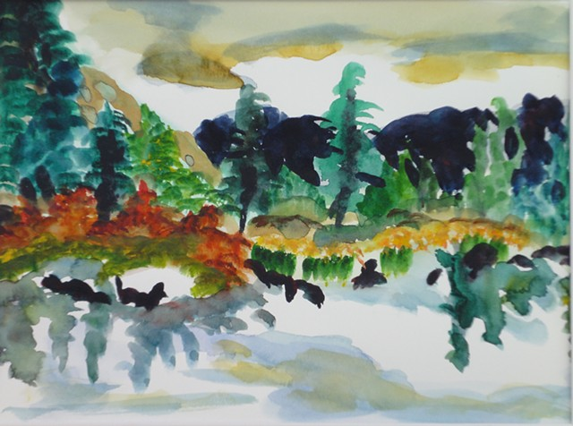 Blues, greens, dark distant mountains, dusky sky, reflections, interpretive view by Judith Gilman